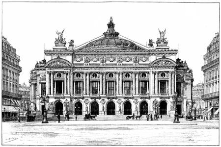 Facade of the opera, vintage engraved illustration. Paris - Auguste VITU – 1890.