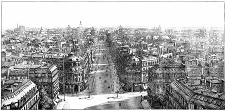 Panorama taken from the Loggia of the Opera, vintage engraved illustration. Paris - Auguste VITU – 1890. Banco de Imagens