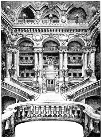 opera: The grand staircase of the Opera, vintage engraved illustration. Paris - Auguste VITU – 1890. Stock Photo