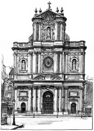 Church of St. Louis-Saint-Paul, vintage engraved illustration. Paris - Auguste VITU – 1890. illustration