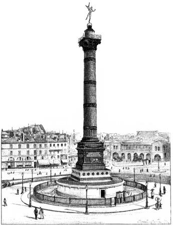 the bastille: July Column and Place de la Bastille, vintage engraved illustration. Paris - Auguste VITU – 1890. Stock Photo