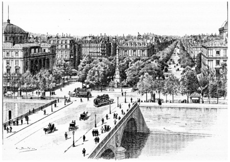 pont: Pont au Change, Place du Chatelet and Boulevard de Sebastopol, vintage engraved illustration. Paris - Auguste VITU – 1890.