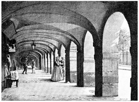 The arcades of the Place des Vosges, vintage engraved illustration. Paris - Auguste VITU – 1890.