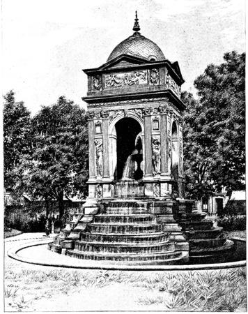 Fontaine des 罪なき者のヴィンテージには、図が刻まれています。パリ - オーギュスト ・ ヴィトゥ-1890年。
