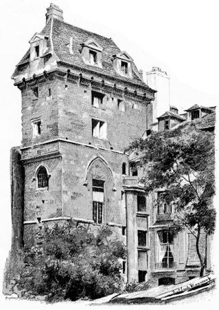 The dungeon of John the Fearless, vintage engraved illustration. Paris - Auguste VITU – 1890.