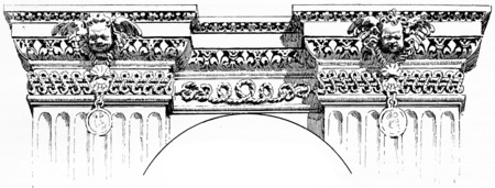 details: Details of a frieze for the Louvre palace, vintage engraved illustration. Paris - Auguste VITU – 1890.
