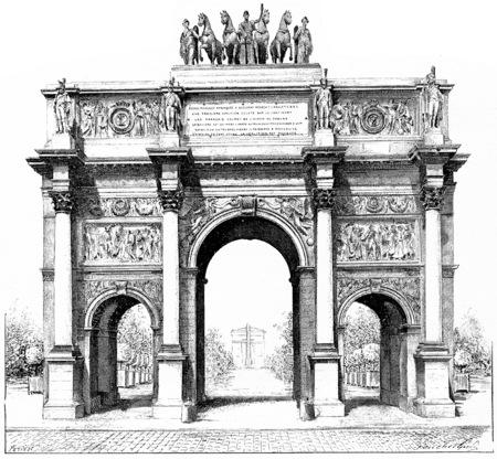 Triumphal arch of the Place du Carrousel, vintage engraved illustration. Paris - Auguste VITU – 1890.