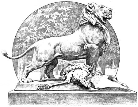 staggered: Cain a lion in the staggered Tuileries, vintage engraved illustration. Paris - Auguste VITU – 1890.