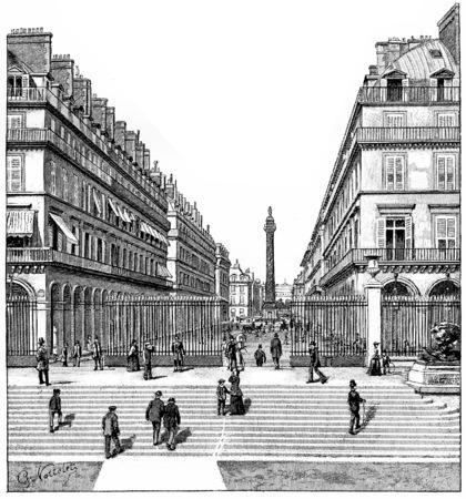 Castiglione Street, vintage engraved illustration. Paris - Auguste VITU – 1890. illustration