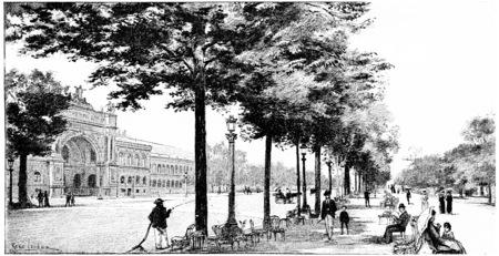 arboles blanco y negro: Entrada principal al Palacio de la Industria, vintage grabado ilustración. París - Auguste VITU - 1890.