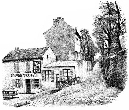 montmartre: Montmartre, Rue Saint-Vincent, vintage engraved illustration. Paris - Auguste VITU – 1890.