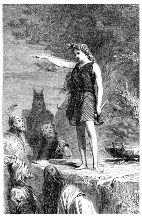 rite: A Gallic priestess, vintage engraved illustration.