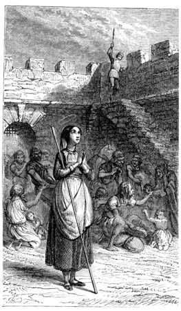 Sainte Geneviève rescues Parisian during the famine, vintage engraved illustration.