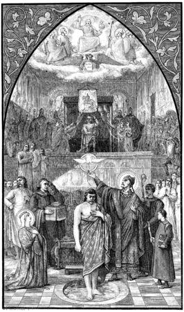battesimo: Il battesimo di Clodoveo, vintage illustrazione inciso.