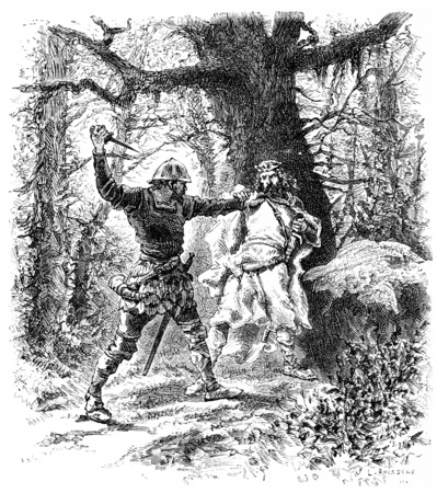 assassination: Assassination of Chilperic I in the scales of forest, vintage engraved illustration. Stock Photo