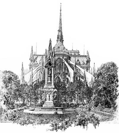 Plein van het aartsbisdom en de apsis van de Notre Dame, vintage gegraveerde illustratie. Parijs - Auguste VITU - 1890. Stockfoto