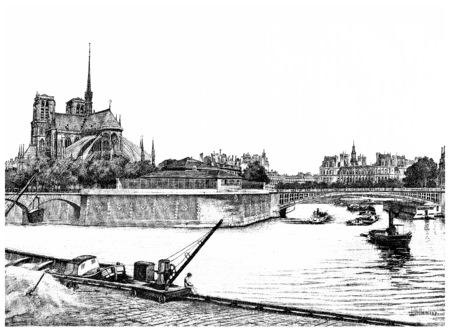 도시, 빈티지 새겨진 그림의 섬의 동부 팁. 파리 - 오귀스트 VITU - 1890. 스톡 콘텐츠