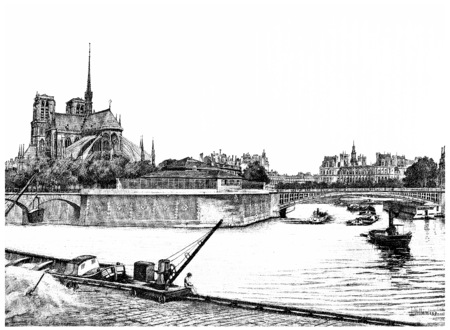 Eastern tip of the island of the city, vintage engraved illustration. Paris - Auguste VITU – 1890. Stok Fotoğraf