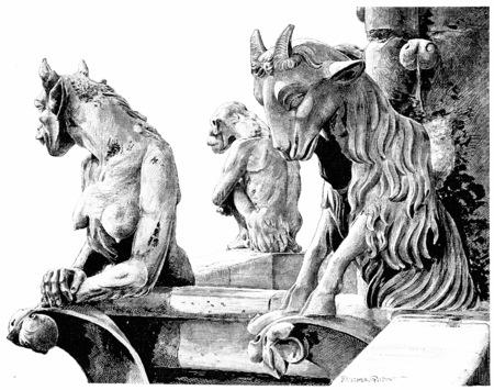 dame: Notre Dame. Fantastic animals of the area of lead, vintage engraved illustration. Paris - Auguste VITU – 1890.