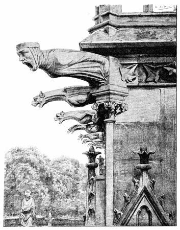 The gargoyles of the sacristy of the chapter, vintage engraved illustration. Paris - Auguste VITU – 1890. Фото со стока
