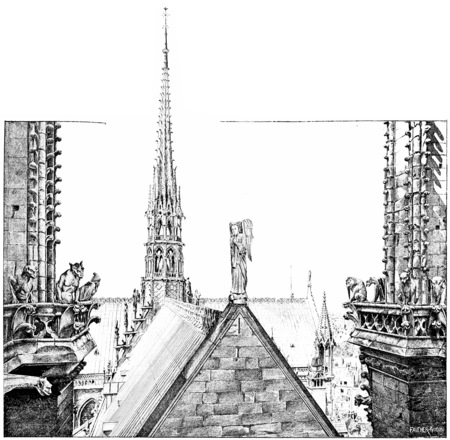 The area lead Notre Dame, vintage engraved illustration. Paris - Auguste VITU – 1890.