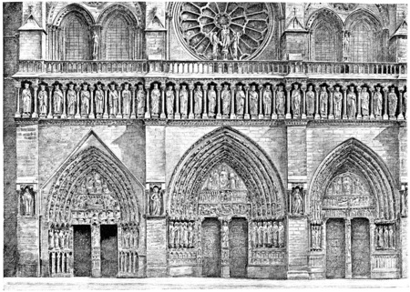 notre: Portals of the facade of Notre-Dame, vintage engraved illustration. Paris - Auguste VITU – 1890.