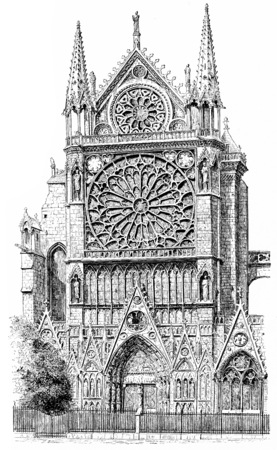 dame: Southern portal of Notre Dame, vintage engraved illustration. Paris - Auguste VITU – 1890. Stock Photo