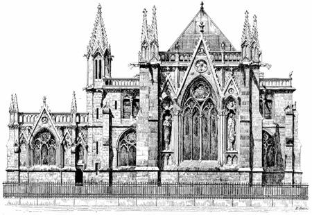 dame: Sacristy of Notre Dame, vintage engraved illustration. Paris - Auguste VITU – 1890.