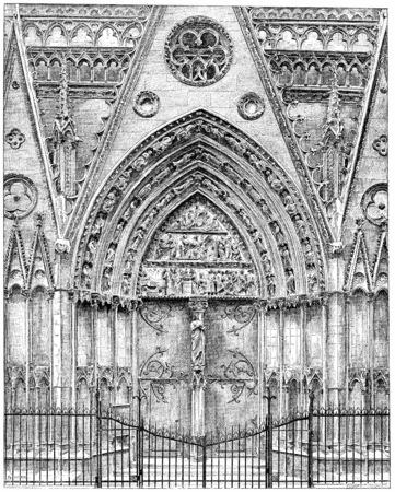 woodwork: Exterior woodwork of the choir of Notre-Dame, vintage engraved illustration. Paris - Auguste VITU – 1890.