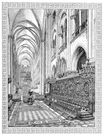 notre: Choir of Notre-Dame de Paris, vintage engraved illustration. Paris - Auguste VITU – 1890.