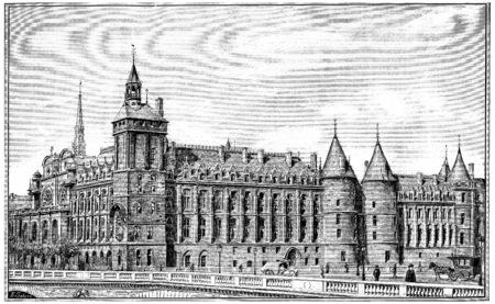 courthouse: Courthouse, vintage engraved illustration. Paris - Auguste VITU – 1890. Stock Photo
