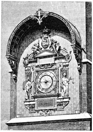 vintage clock: The clock in the square tower, vintage engraved illustration. Paris - Auguste VITU – 1890.