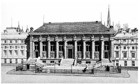 courthouse: Entrance to the Court of Assizes, vintage engraved illustration. Paris - Auguste VITU – 1890.