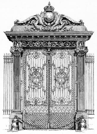 黄金宮殿の門のヴィンテージには、図が刻まれています。パリ - オーギュスト ・ ヴィトゥ â €1890。