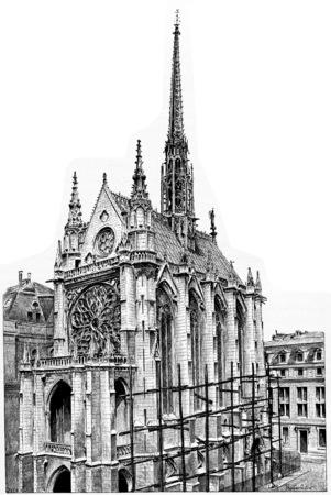 spire: Sainte-Chapelle, vintage engraved illustration. Paris - Auguste VITU – 1890.