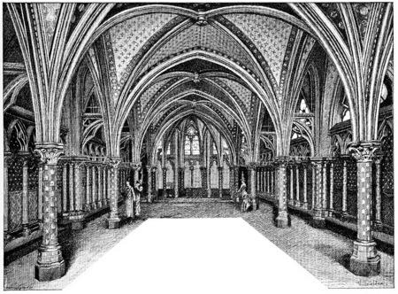 Chapel low of Sainte-Chapelle, vintage engraved illustration. Paris - Auguste VITU – 1890. Фото со стока