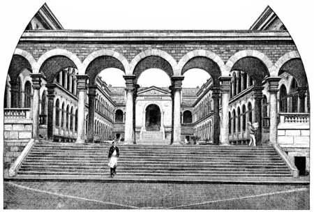 Main courtyard of the Hotel-Dieu, in front on the Plaza, vintage engraved illustration. Paris - Auguste VITU – 1890.