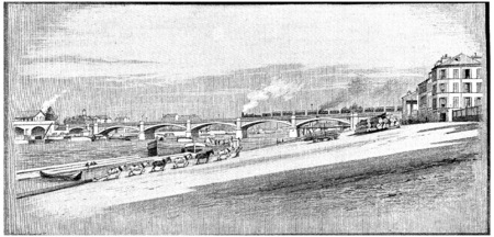 pont: East of Paris, The Pont National, vintage engraved illustration. Paris - Auguste VITU – 1890. Stock Photo