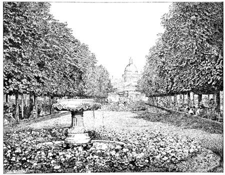 dessin noir et blanc: Le Panthéon vu du jardin du Luxembourg, millésime gravé illustration. Paris - Auguste VITU - 1890.
