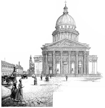 pantheon: The Pantheon, vintage engraved illustration. Paris - Auguste VITU – 1890.