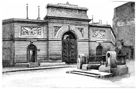 Ecole Polytechnique, vintage engraved illustration. Paris - Auguste VITU – 1890. illustration