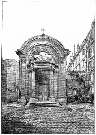 chapel: Chapel of the former College of the Lombards, rue des Carmelites, vintage engraved illustration. Paris - Auguste VITU – 1890. Stock Photo