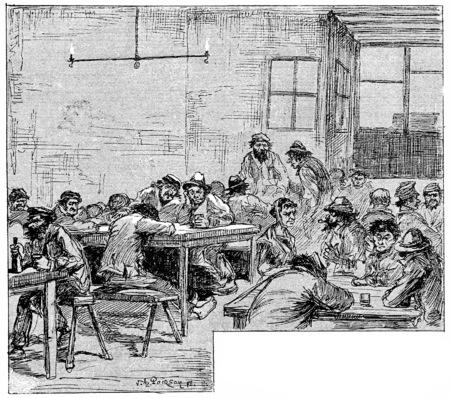 guests: Guests of the Château-Rouge, vintage engraved illustration. Paris - Auguste VITU – 1890.