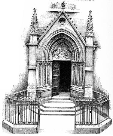 """세인트 세 브린, 빈티지 새겨진 된 그림의 작은 포털. 파리 - 오귀스트 VITU â € """"1890."""