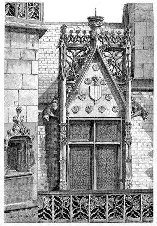 ホテル ・ ド ・ クリュニー、ビンテージの刻まれたイラストのコーナー。パリ - オーギュスト ・ ヴィトゥ â €1890。 写真素材