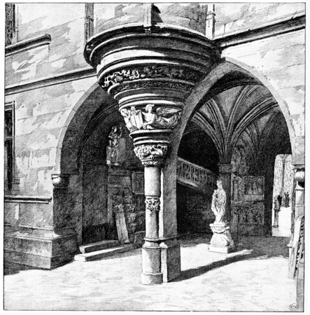 devoted: The devoted to Gothic arches, vintage engraved illustration. Paris - Auguste VITU – 1890.