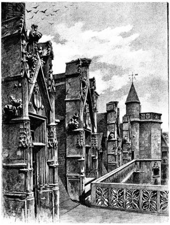 Gallery Update en dakkapellen van het hotel Cluny, vintage gegraveerde illustratie. Parijs - Auguste VITU - 1890.