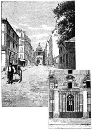 superior: Rue dUlm, Entrance of the normal superior school, vintage engraved illustration. Paris - Auguste VITU – 1890.