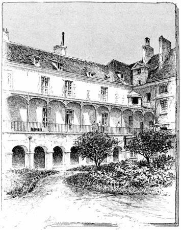 abbey: Hospice of maternity (The former cloister of the Abbey), vintage engraved illustration. Paris - Auguste VITU – 1890. Stock Photo