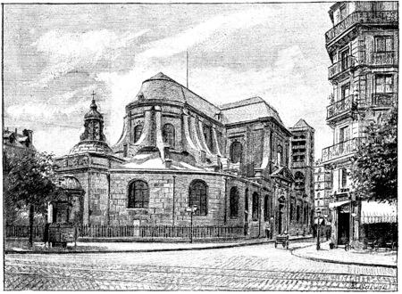 boulevard: The apse of St. Nicolas du Chardonnet on the Boulevard Saint-Germain, vintage engraved illustration. Paris - Auguste VITU – 1890. Stock Photo